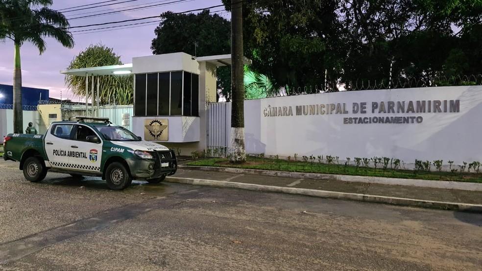 Operação do Ministério Público prendeu dois vereadores e ex-vereador em Parnamirim na última sexta-feira (18). — Foto: MP/Divulgação