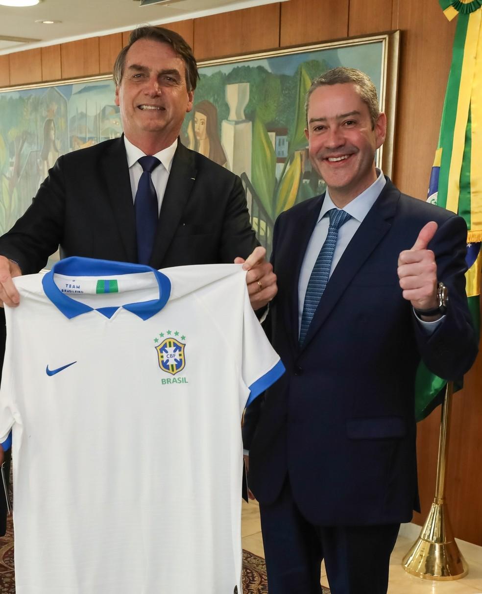 Bolsonaro e Rogério Caboclo em encontro em Brasília — Foto: Marcos Corrêa/PR