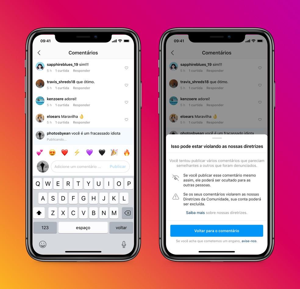 A rede social amplia o recurso que alerta ao usuário que aquele comentário pode ser ofensivo — Foto: Divulgação/Instagram