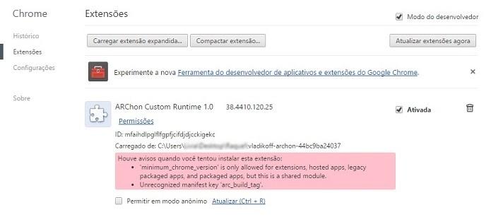 Arquivo descompactado inserido como extensão do Chrome (Foto: Reprodução/Raquel Freire)