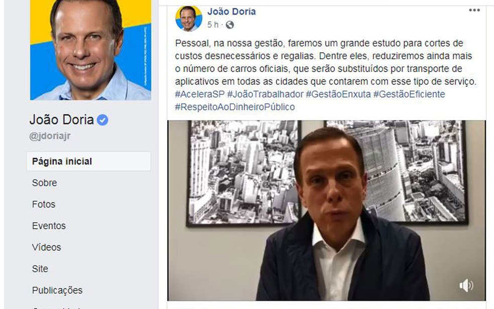 Doria divulga vídeo no Facebook no qual afirma que não vai morar no Palácio dos Bandeirantes ? Foto: Reprodução/Facebook