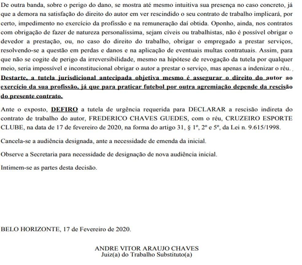 Juiz defere liminar a Fred, agora ex-atacante do Cruzeiro — Foto: Reprodução