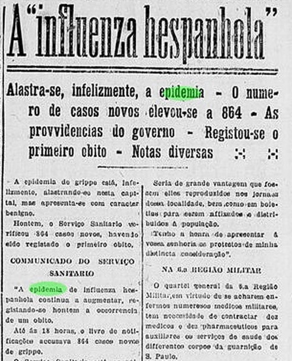 Recorte do jornal Correio Paulistano sobre a morte do primeiro paulistano em decorrência da gripe espanhola — Foto: Reprodução/Correio Paulistano