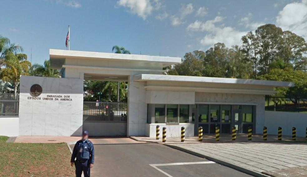 Embaixada dos Estados Unidos, em Brasília — Foto: Google/ Reprodução