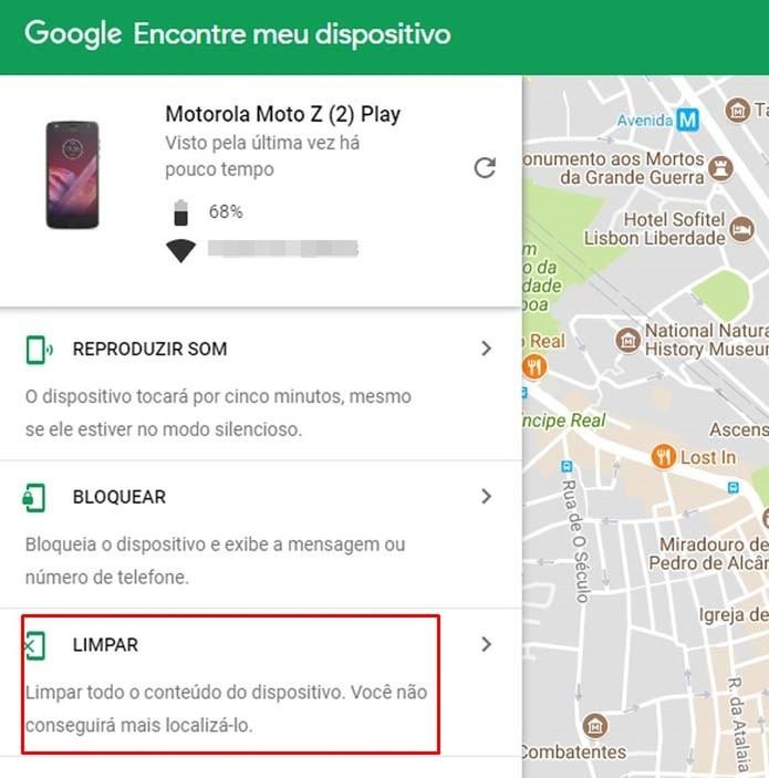 Também é possível apagar os dados associados à conta do Google remotamente (Foto: Reprodução/Taysa Coelho)