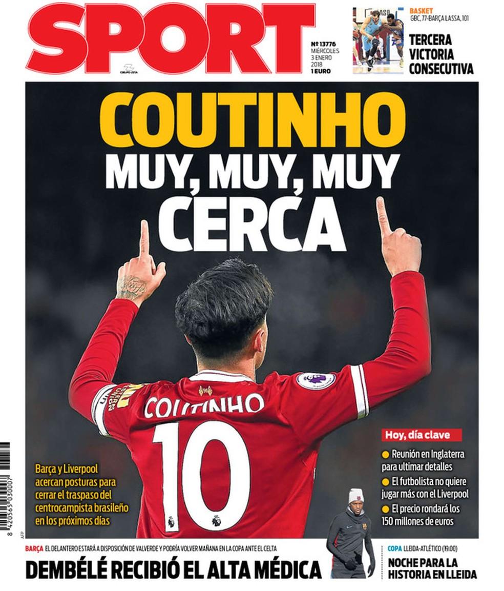 Philippe Coutinho deve se transferir para o Barcelona neste mês (Foto: Reprodução/Sport)