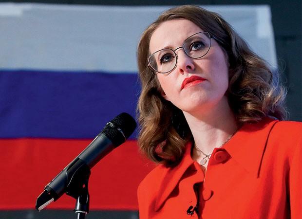 Kremlin - Ksenia Sobchak durante a campanha presidencial de 2018. a política é considerada a paris hilton russa (Foto: Getty Images / Alamy Stock)