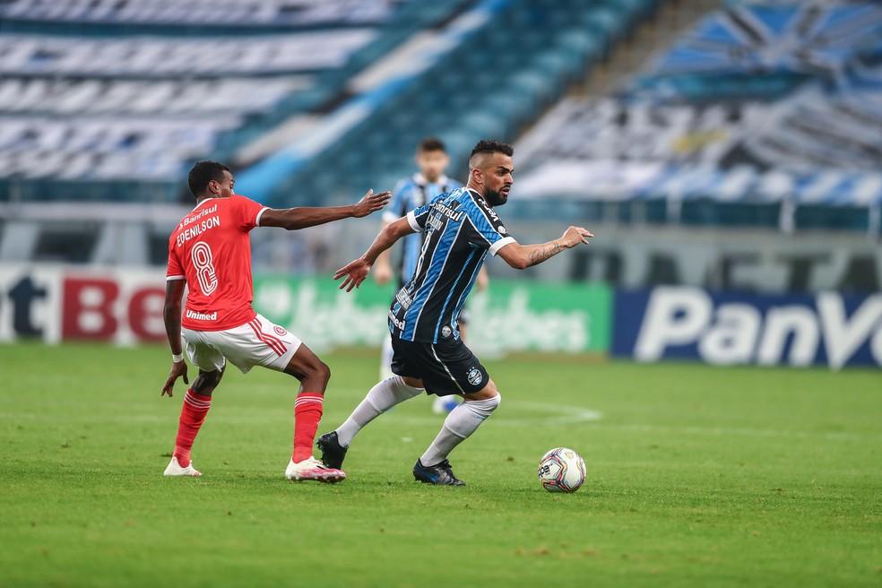 Maicon fez um dos gols da vitória tricolor no Gre-Nal — Foto: Lucas Uebel / Grêmio FBPA