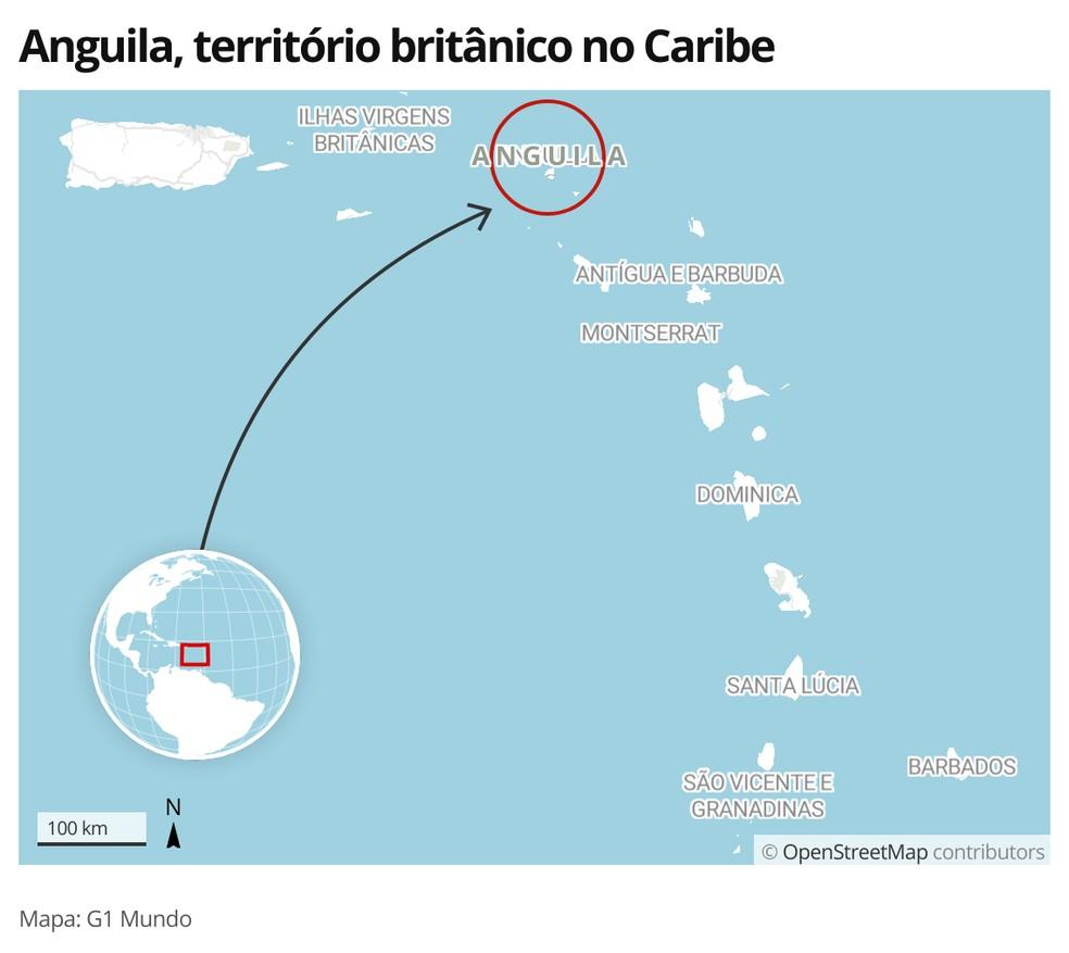 Mapa mostra localização de Anguila, território britânico no Caribe — Foto: G1 Mundo