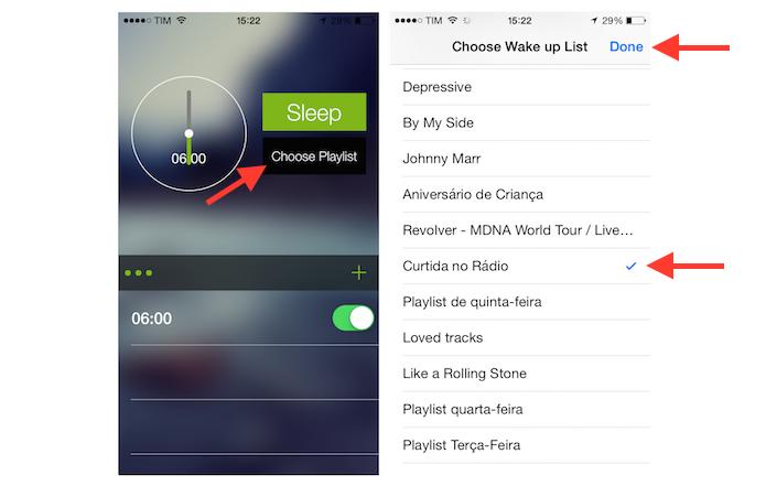 Vinculando uma playlist do Spotify a um alarme criado pelo Alarmify para iPhone (Foto: Reprodução/Marvin Costa)
