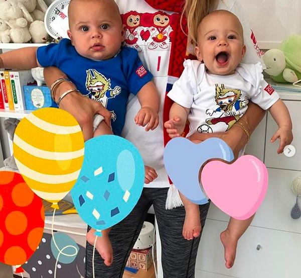 Os gêmeos filhos do cantor Enrique Iglesias com a ex-tenista Anna Kournikova (Foto: Instagram)