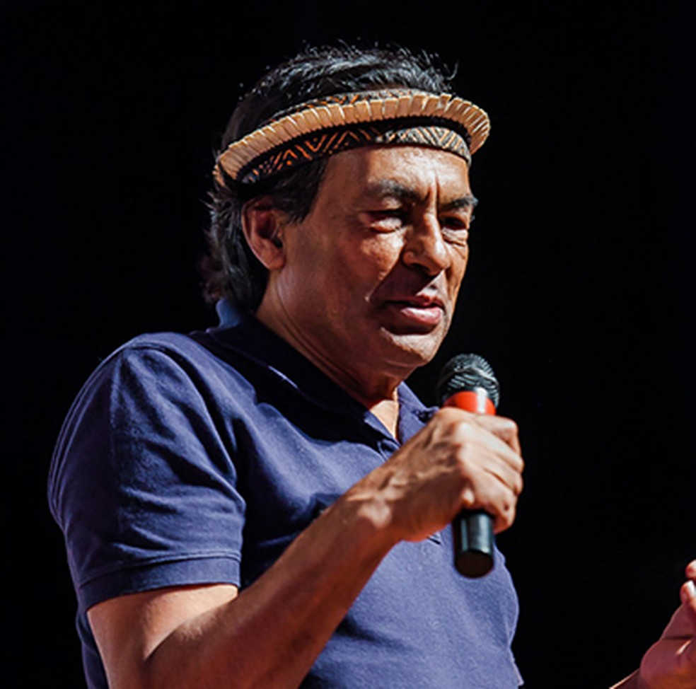 Ailton Krenak, militante dos direitos dos povos indígenas homenageado na 14° edição do Cineamazônia. — Foto: Divulgação/ Cineamazônia