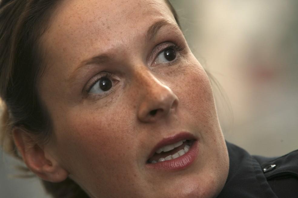 A policial Kim Potter, que atirou e matou Daunte Wright durante uma abordagem nos EUA — Foto: Star Tribune/Getty Images