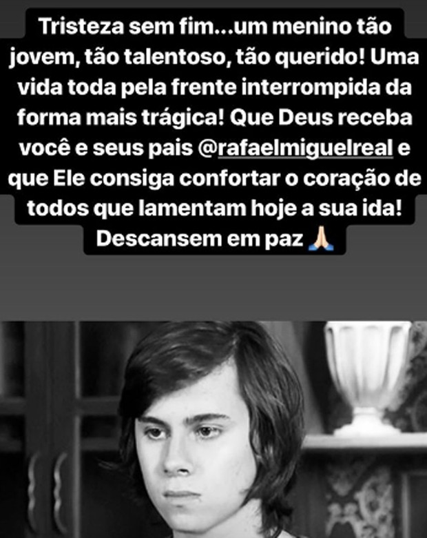 Larissa Manoela lamenta morte de Rafael Miguel (Foto: Reprodução/Instagram)