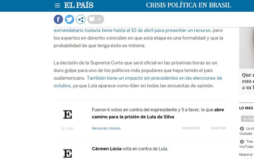 Espanhol 'El País' acompanhou votação em tempo real (Foto: Reprodução/El País)