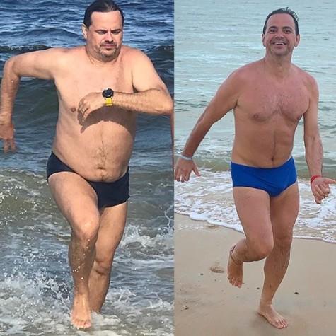 Márvio Lúcio antes e depois de perder 11kg (Foto: Reprodução)