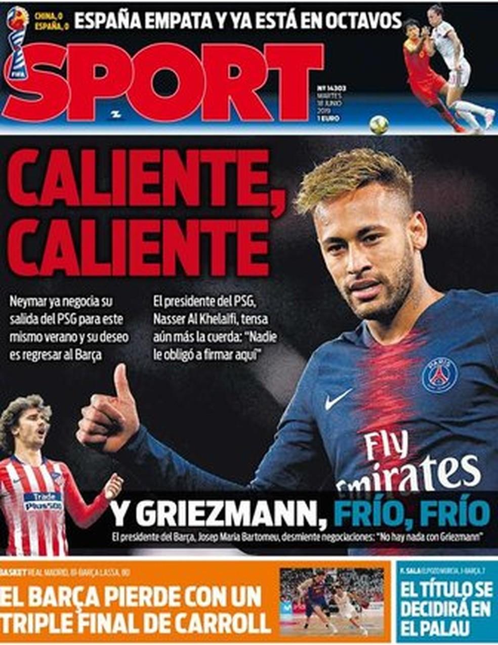 Sport diz que Neymar está quente — Foto: Reprodução / Sport