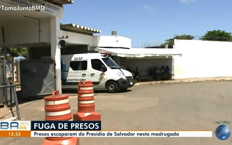 Sete detentos fugiram do Presídio Salvador — Foto: Reprodução/TV Bahia