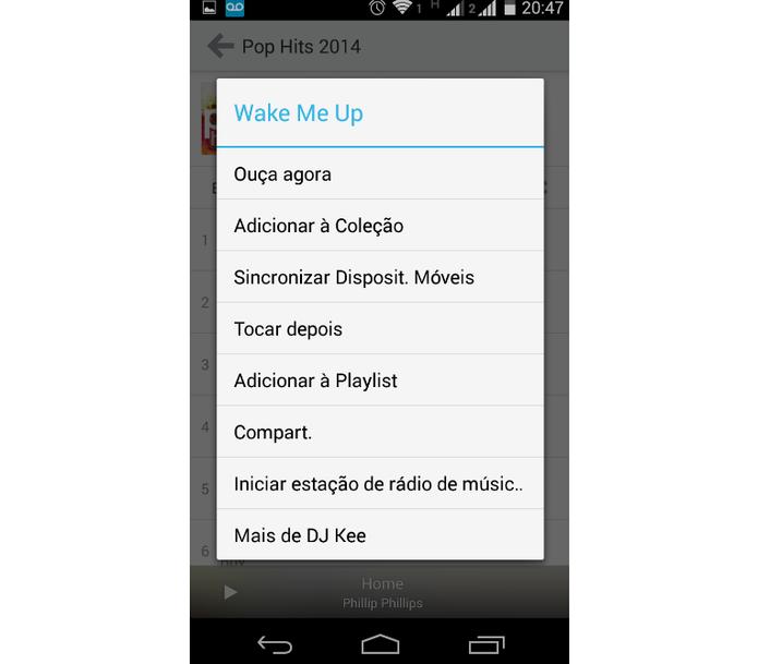 Interface de edição de músicas às coleções e playlists (Foto: Reprodução/ Marcela Vaz)
