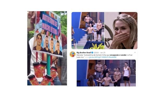 No carnaval, uma pessoa decidiu encapsular a 'autoestima do macho hétero', como sugeriu Marcela (Foto: Reprodução/Twitter)
