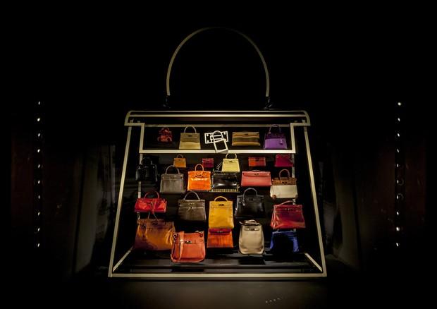 Parte da exposição da Hermès com bolsas Kelly e Birkin (Foto: Tuca Reines/Divulgação)