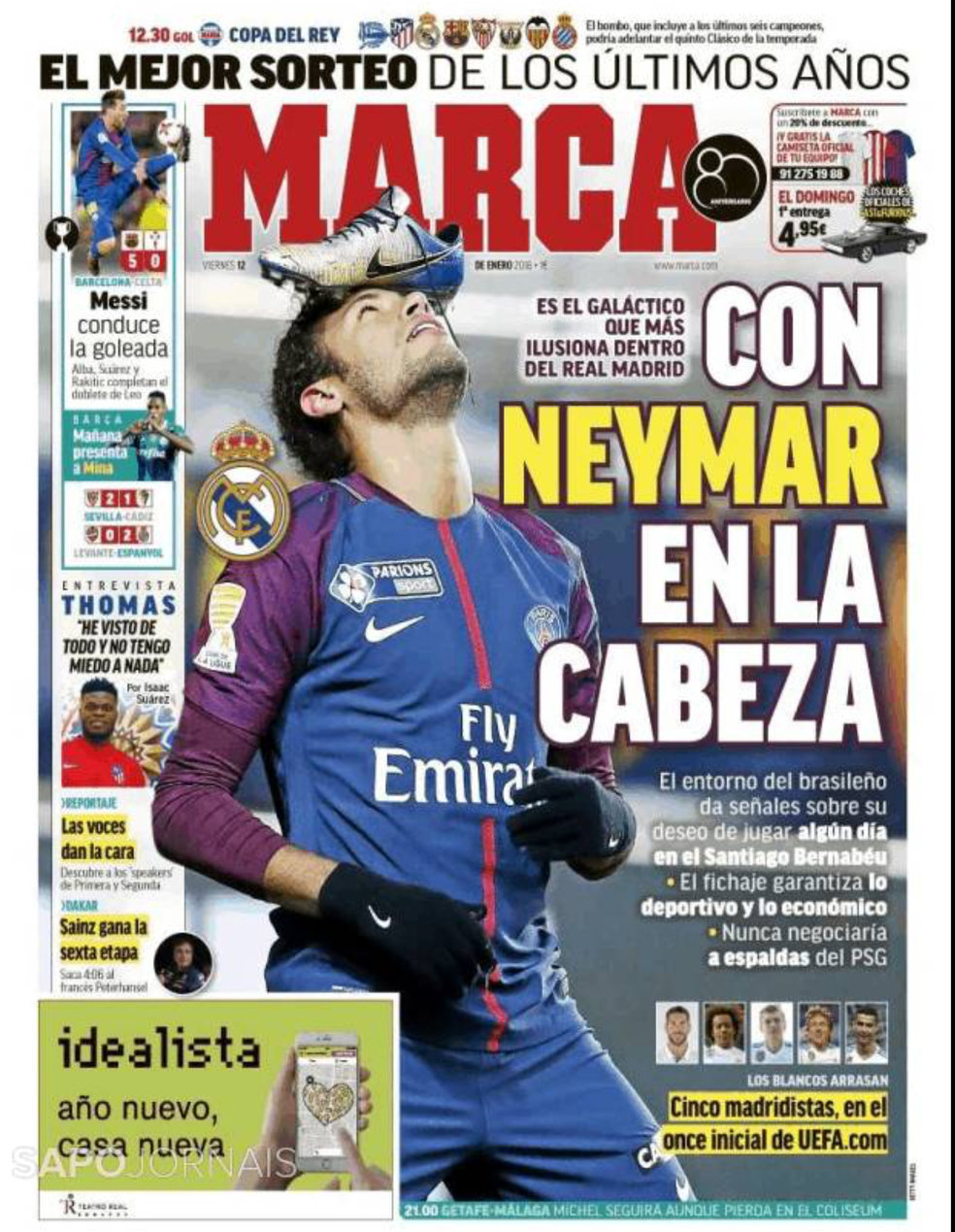 Capa do Marca de 11/01 coloca Neymar na capa como sonho do Real (Foto: Reprodução)