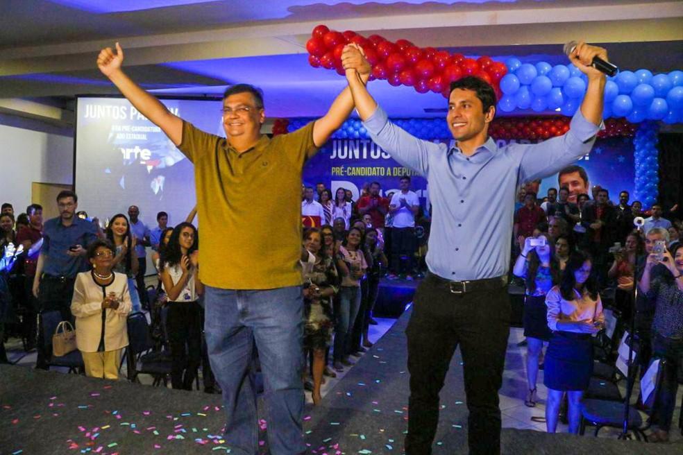 Flávio Dino e Duarte Jr. em evento que foi base para condenação de ambos pelo TRE ao pagamento de multa (Foto: Divulgação / Duarte Jr.)