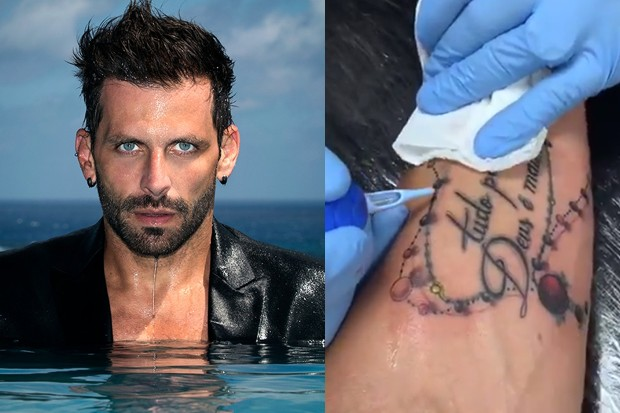 Henri Castelli Cobre Tatuagem Antiga Com Frase Motivadora Deus é