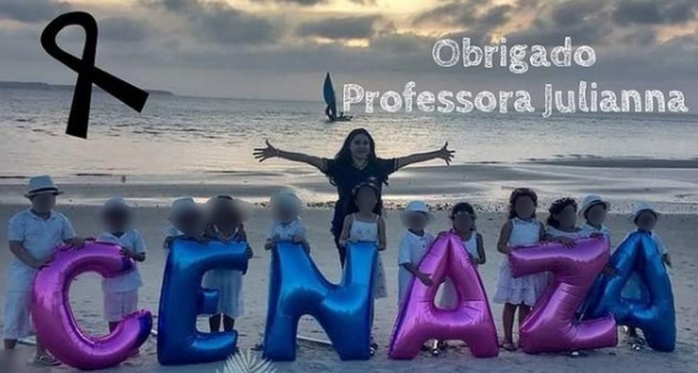 Julianna Mara dava aulas para crianças do ensino infantil em uma escola de São Luís (MA) — Foto: Reprodução/Arquivo pessoal