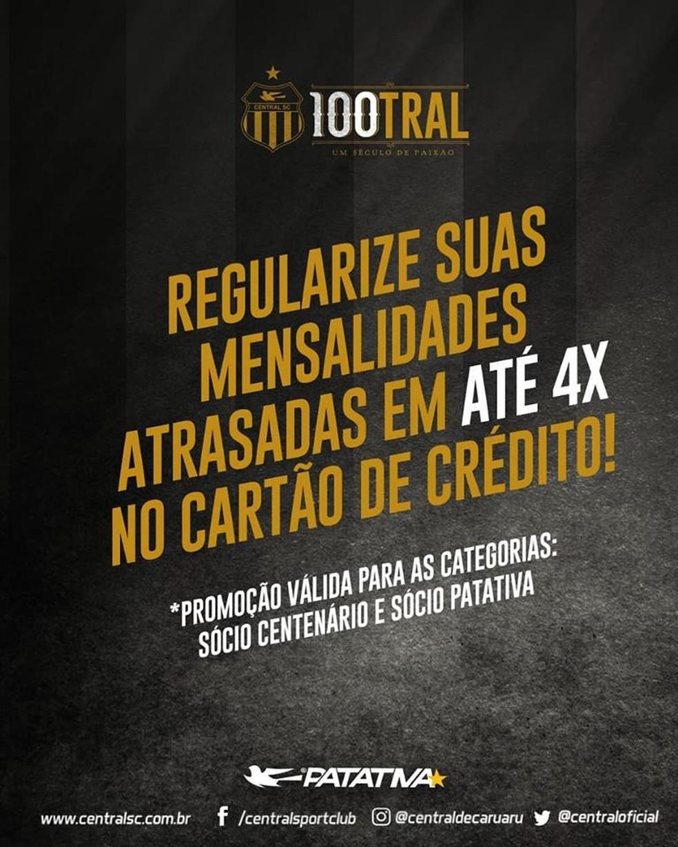 Central criou campanha para regularizar sócios — Foto  Central    Divulgaçà 6d77fe76f9fda
