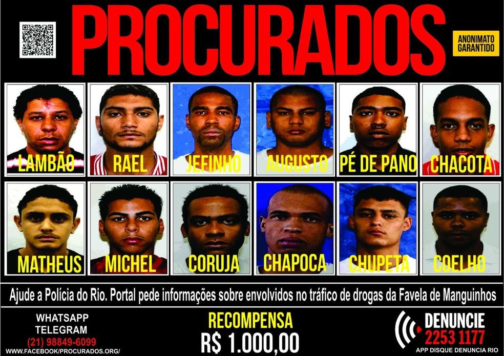 Disque Denúncia oferece recompensa por informações sobre traficantes de Manguinhos. (Foto: Reprodução/ Portal dos Procurados)
