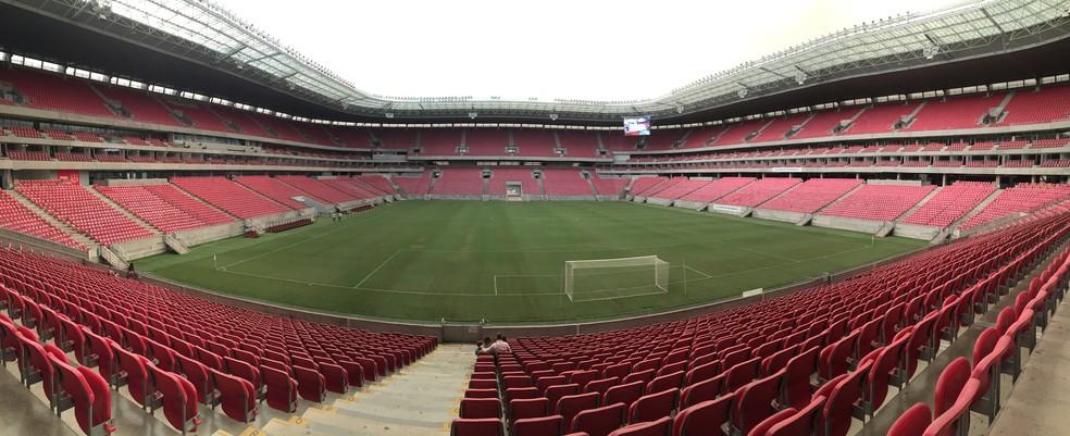 Em abril, a ideia de se concluir a Copa do Nordeste em sede única já havia sido provocada. A Arena de Pernambuco poderia ser o estádio da grande decisão  — Foto: Arthur Ribeiro/GloboEsporte.com