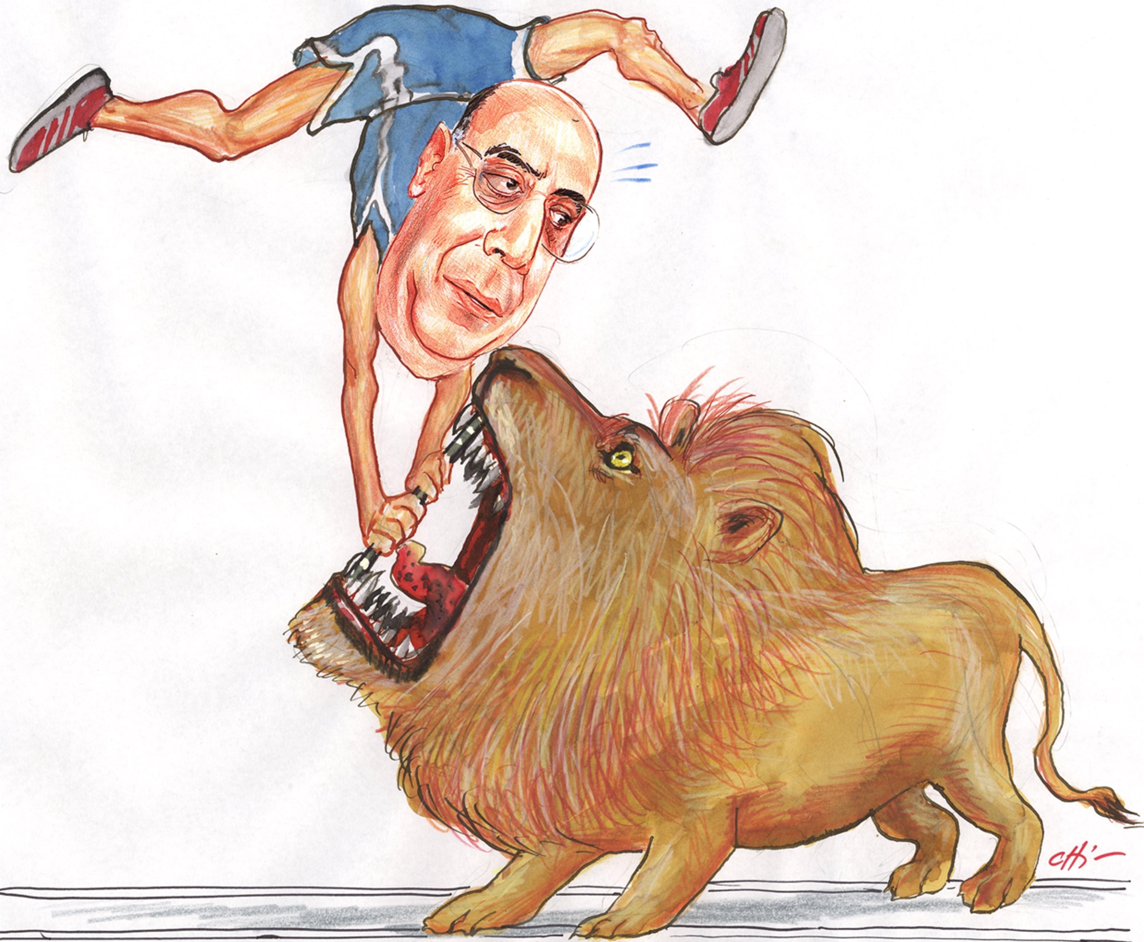 O então presidente do Banco Central, Henrique Meirelles, hoje ministro da Fazenda, lutava com o leão em charge de Chico Caruso