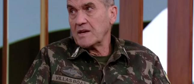 O general Eduardo Villas Bôas, durante entrevista ao programa Conversa com Bial, da TV Globo (Foto: TV Globo/Reprodução)