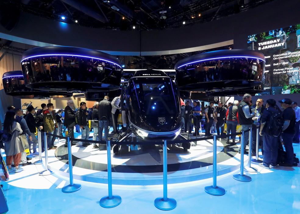 Carro voador Bell Nexus foi apresentado na CES 2019, em Las Vegas — Foto: Steve Marcus/Reuters