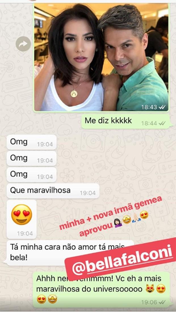 Bate-papo no WhatsApp entre Bella Falconi e Adriana Santana (Foto: Reprodução/Instagram)