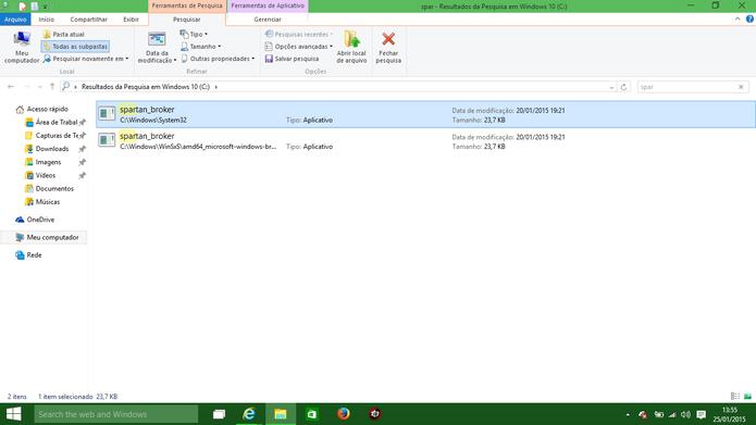 Windows 10 traz arquivos que podem estar relacionados ao Spartan, mas não é possível rodá-lo (Foto: Reprodução/Elson de Souza)