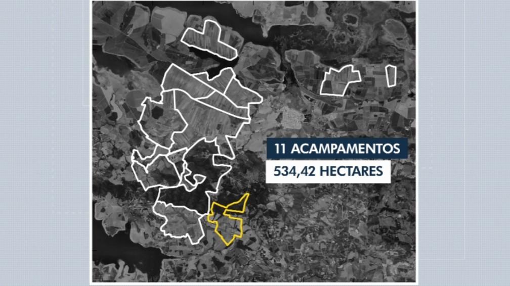 Áreas em que se encontram os acampamentos do MST na região da usina em MG — Foto: Reprodução/EPTV
