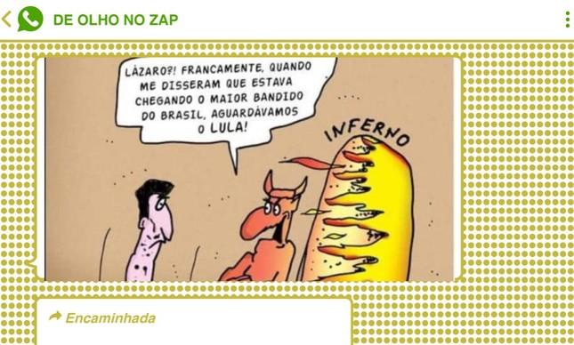 Mensagem que circula nas redes bolsonaristas ligam o bandido assassinado pela polícia ao ex-presidente Lula