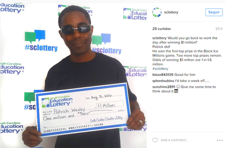 O ganhador da loteria Patrick Wesley (Foto: South Carolina Education Lottery/Instagram)