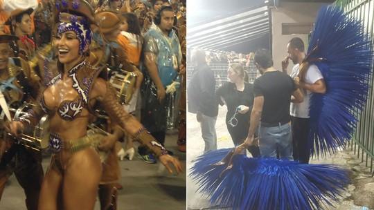 Sabrina Sato se atrasa e desfila sem parte da fantasia na Gaviões; veja vídeo
