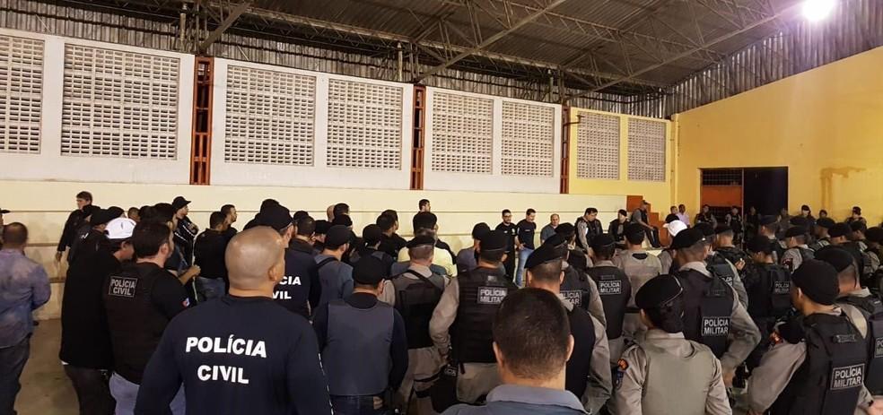 Policiais se concentram antes de operação realizada em Maceió e Arapiraca — Foto: SSP-AL/Divulgação