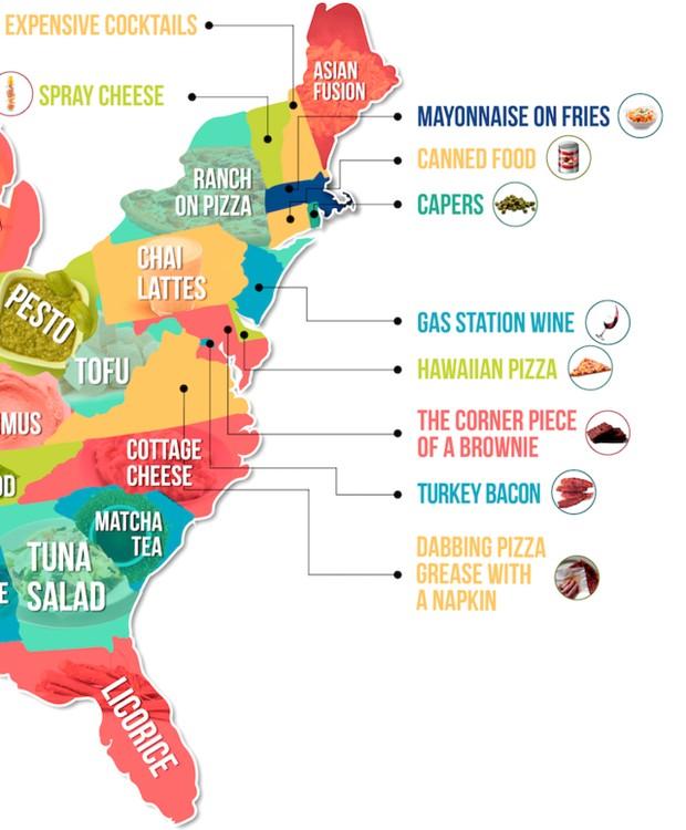 Os alimentos menos apreciados pelos moradores da costa leste dos Estados Unidos (Foto: Hater)