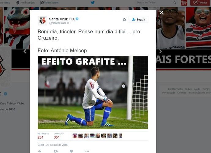 Na internet, Santa Cruz provoca o Cruzeiro após goleada em Recife (Foto: Reprodução / Twitter)