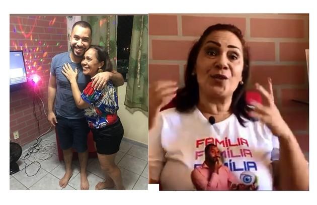 O economista mora em Janga, município de Pernambuco. Na foto, ele e a mãe, Jacira, na sala com TV e luz de discoteca (Foto: Reprodução)