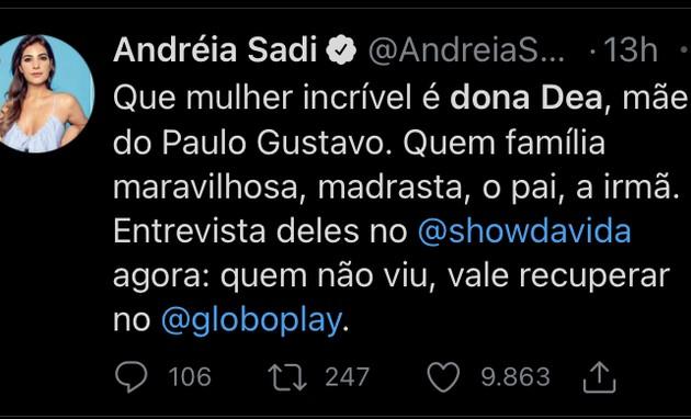 Postagem de Andréia Sadi (Foto: Reprodução)