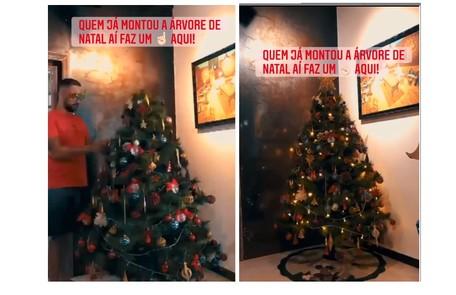 Mariana Bridi, mulher do ator Rafael Cardoso, mostrou que os filhos e amigos ajudaram a montar sua árvore Reprodução