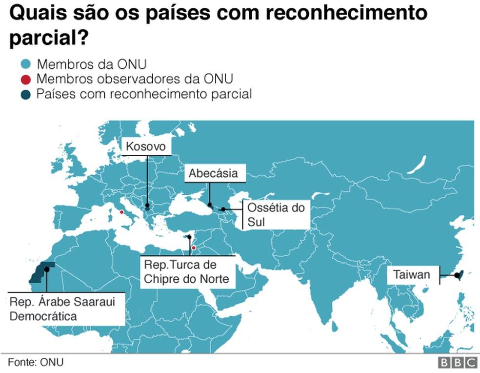 Países reconhecimento parcial — Foto: BBC