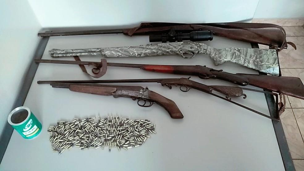 Operação apreendeu armas e munições no Sul de MG — Foto: Ministério Público