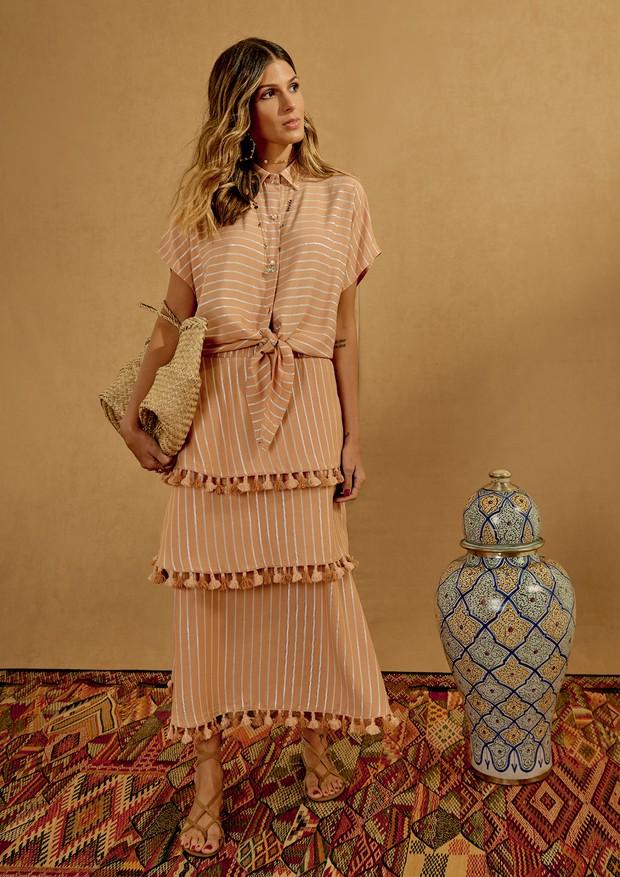 Anna Fasano veste blusa (R$ 328) e saia (R$ 656) de sua parceria com a Batiche, inspirada em Marrocos (Foto: André Giorgi, Michael Willian e Pedro Loreto/Divulgação)